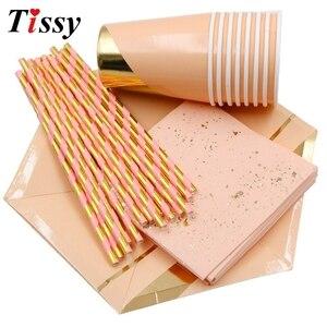 Image 2 - Os utensílios de mesa descartáveis ouro rosa imitação placa de mármore dourado palhas de papel/decoração cuptable casamento/aniversário/festa suprimentos