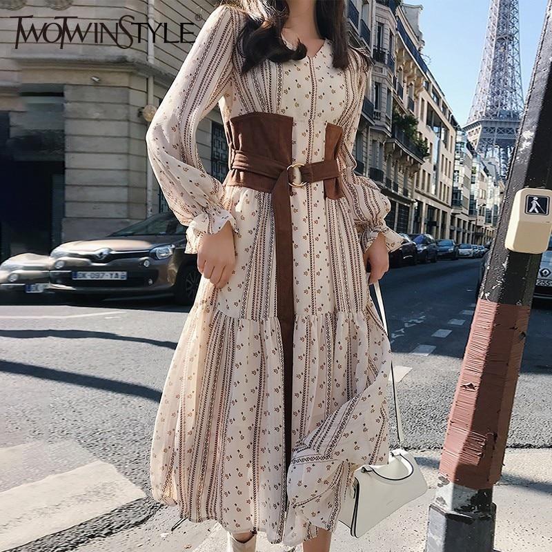 Deuxtwinstyle robes en mousseline de soie femme col en V bouffée à manches longues Bandage imprimé fleur robe Midi femmes 2018 automne Vintage mode