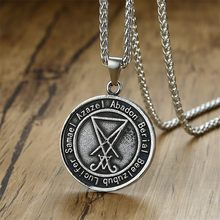 Nomine Dei Nostri Satanas Luciferi Excelsi Amulet Occult Luciferian Satanic Pendant Necklace Satan with 24 inch(China)