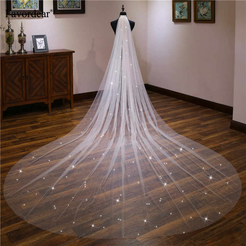 Favordear Ivory/Champagne  Long Wedding Veil Velos De Novia Cathedral 1 Tier Sequin Bridal Veil with Comb Wedding Accessories