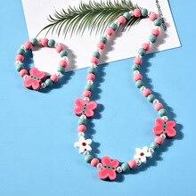 Бусы для девочек, игрушки, ожерелье+ браслет, бабочки, цветы, детское ожерелье ручной работы, аксессуары для принцесс, детские подарки на день рождения