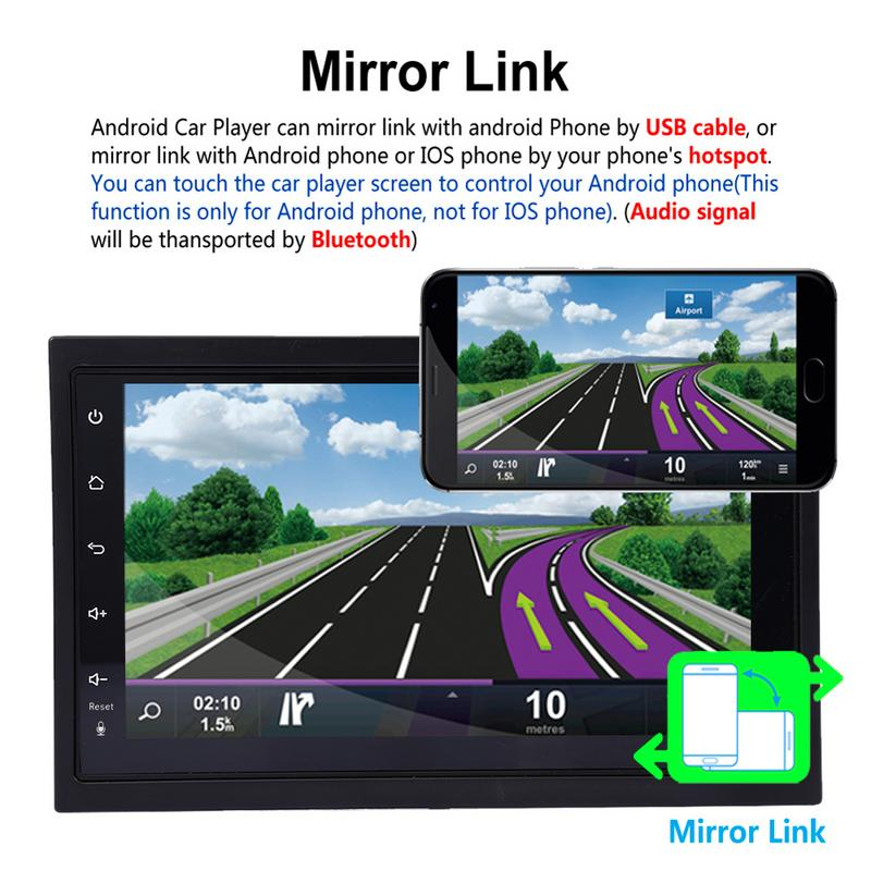Universal 7-inch 2DIN  Android 7.1 Car Multimedia Player GPS Navigator HD Reversing Audio and Video Phone Mirror
