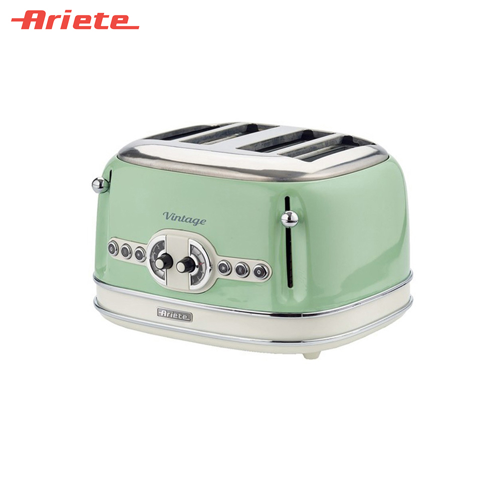 Toasters Ariete 8003705114944 Household Automatic Bread Toaster Baking Breakfast Machine Stainless steel 4 Slices Bread Maker sandwich makers philips bread household baking 2 slices slots for breakfast toast machine automatic zipper