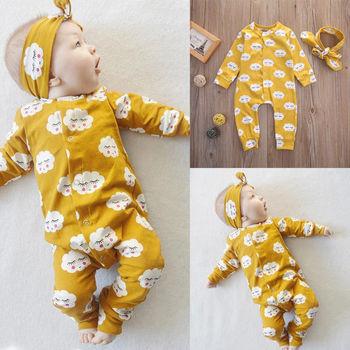 Pudcoco ubrania dla dziewczynek noworodek niemowlę dziecko dzieci dziewczyny ubrania kombinezon Romper stroje zestaw tanie i dobre opinie COTTON Drukuj Dziecko dziewczyny Przycisk zadaszone Pajacyki Pełna O-neck