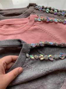 Image 5 - 2019 conjunto de mujeres tejidas conjunto de un hombro de sudadera y pantalón Sexy mujeres chándal de dos piezas conjunto de mujeres