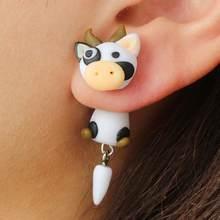Brincos feitos à mão bonito argila polímero dos desenhos animados vaca orelha studs feminino brincos presentes de festa