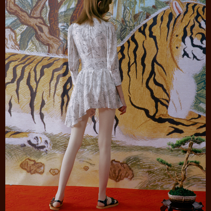 Deat 2020 Nuova Primavera E L' Estate di Modo Vestiti Delle Donne Girocollo Maniche a Tre Quarti Cinghie di Vita di Larghezza Stampato Asimmetrico - 3