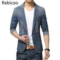 M 3XL Men Denim Blazer Jackets Men Blazer Slim Fit Terno Blaser Masculino Jaquetas Men's Suits Blazer Man Jeans Coats