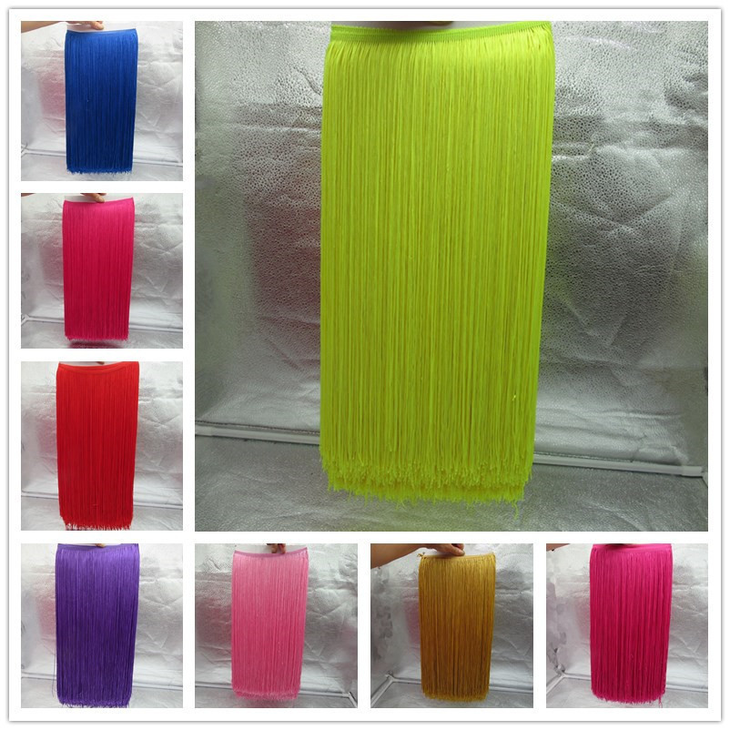 YY-tesco 1 Yards 50CM Long Lace Fringe Trim Tassel Fringe Trimming For Diy Latin Dress Stage Clothes Accessories Lace Ribbon