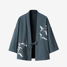 Cchinese Стиль Кардиган Куртка Лето Льняное Хлопковое Пальто Японское Кимоно 2019 Новая Вышивка Улич