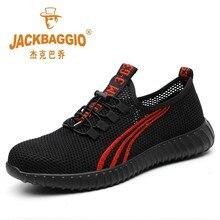 Stalowa główka mesh męskie obuwie ochronne, lekkie i oddychające męskie obuwie robocze, antypoślizgowe poręczne męskie buty gumowa podeszwa