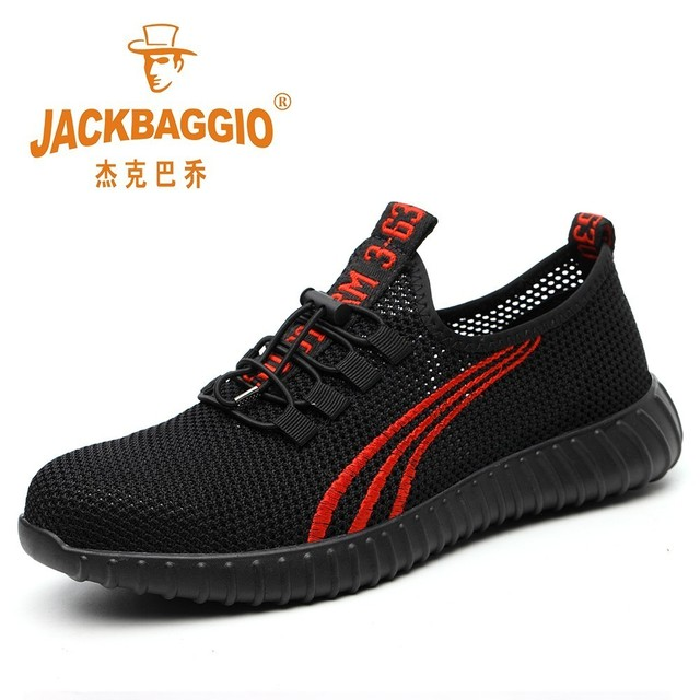 Steel head mesh mens safety shoes, lightweight and breathable mens work shoes, non slip wearable mens boots rubber sole