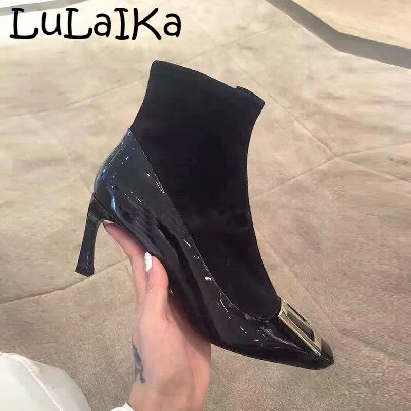 Mujer Cuadrada Moda Calcetín Puntiagudo Invierno En Alta Zapatos El Black Metal Botas 2018 Color De Cremallera Dedo Sexy Nueva La Fiesta Tobillo Tacón Sólido Boda 4w57qWTWZ