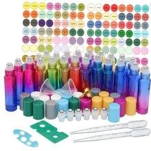 24 Pack 10ml Glass Essential Oil Roller Bottles Stainless Steel Balls Multi-color Lids 2 Dropper, Bottle Opener
