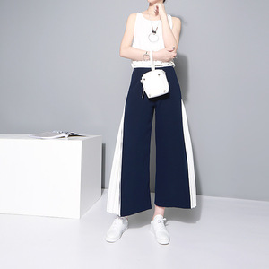Image 4 - [EAM] 2020 New Spring High Waist Blue Side Pleated Split Joint Hit Color Loose Wide Leg Long Pants Women Trousers Fashion  JF795