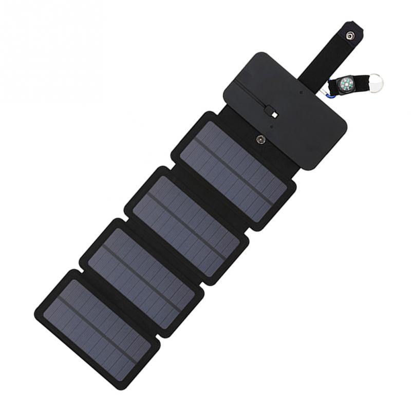 High Quality Solar Charger Panel Outdoor Folding Portable Soft Leather Mobile Phone Charger Solar Panel 2 in Solar Cells from Consumer Electronics