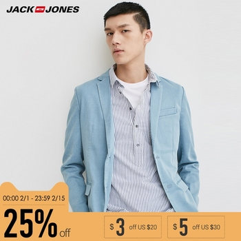 Jack Jones Brand 2018 NEW notched collar solid color denim button decoration slim male blazers |217108518