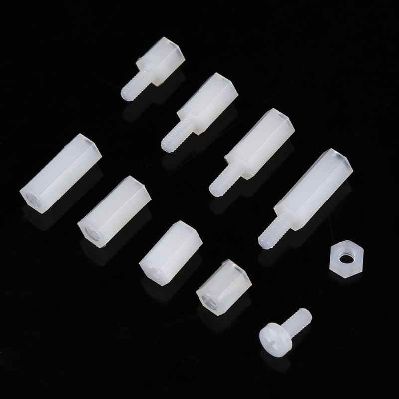 Hot 200pcs M2.5 Nylon Male Female Hex Standoff Bolts Nuts Assortment Set With Plastic Box