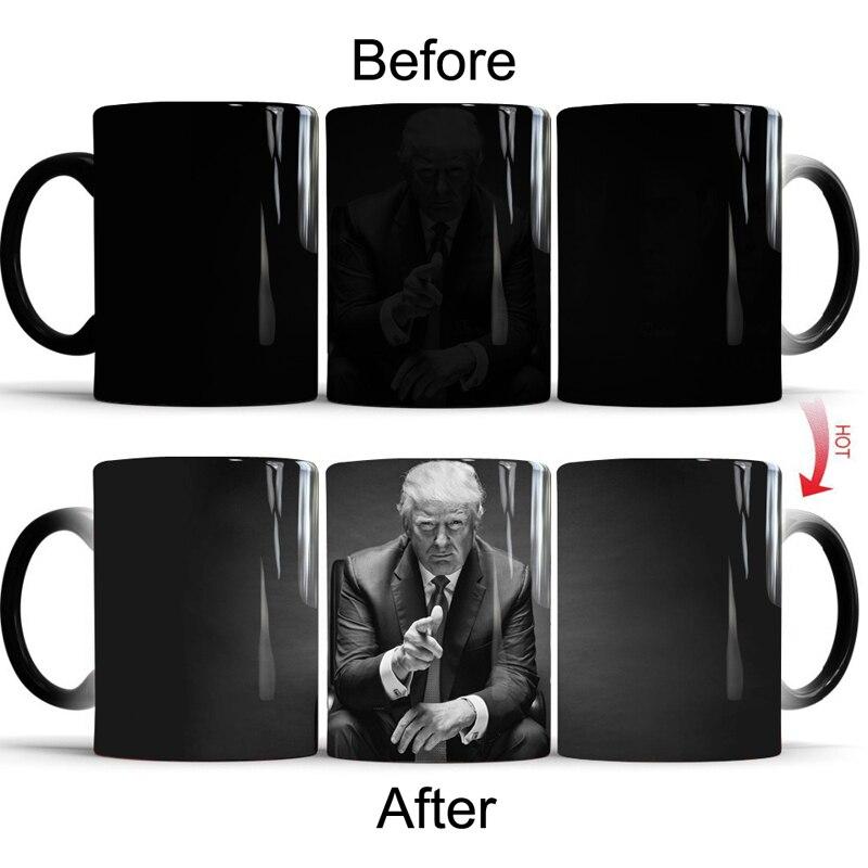 Donald Trump changement de couleur tasse tasse créative en céramique thé café lait tasses thermosensible tasse nouveauté cadeau