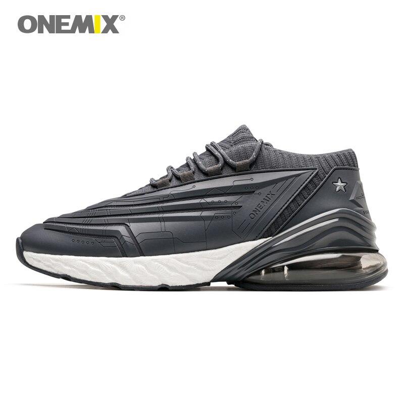 ONEMIX hommes chaussures de course 95 cuir Air supérieur amorti doux semelle intermédiaire chaussures décontracté plein Air chaussures Max EU 47 femme baskets