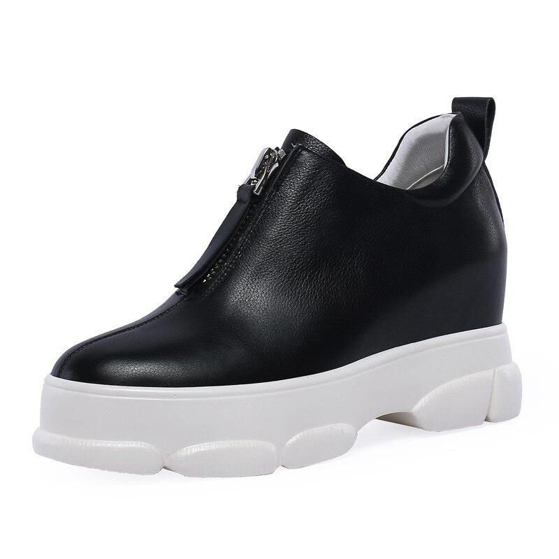 Éclair Véritable Plate Blanc Noir Sneaker Caoutchouc Fermeture Femmes Rond Mocassins Black E023 Plat Automne Bout forme En Patchwork white Cuir Printemps ikPZuX