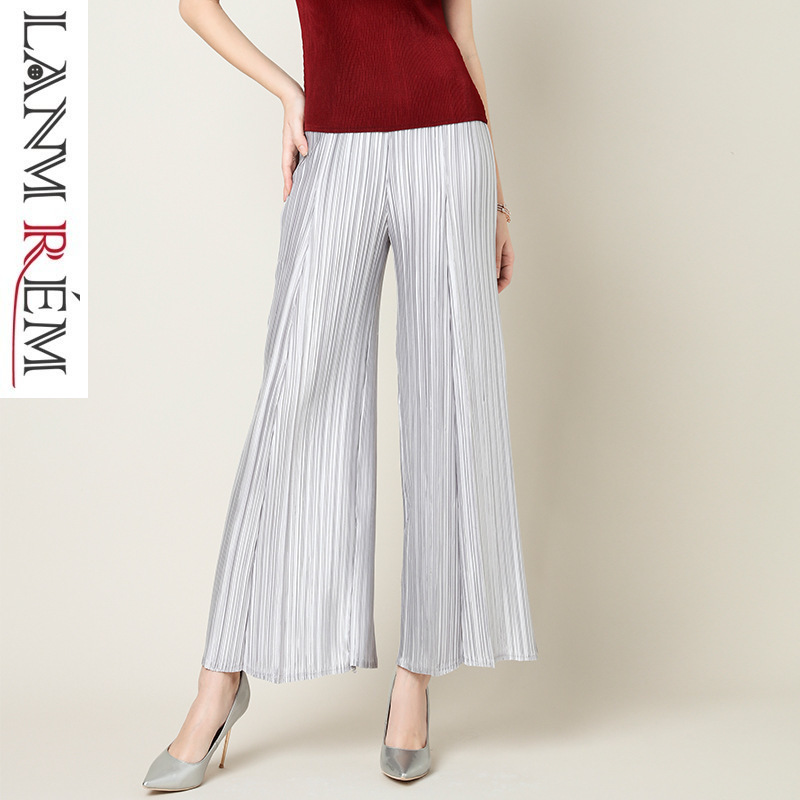 LANMREM Fashion New High Waist   Wide     Leg     Pants   For Woman 2019 Summer Casual Elastic Loose Ankle-length Pleated Trousers YH378