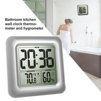 Hotel Household Waterproof Moisture Proof Clock Thermometer Hygrometer Bathroom Kitchen With Suction Cup Wall Clock