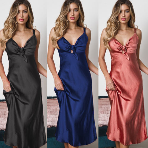 Women's Ladies Fashion Satin Silk Sleepwear Sleepshirts Nightdress Lingerie Night Long Dress Skirt