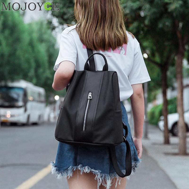 Fashion Women Backpack Leather Nylon School Bags New Simple Travel Casual Pure Color Generous Teenagers Girls Shoulder Back Bag tegaote new design women backpack bags fashion mini bag with monkey chain nylon school bag for teenage girls women shoulder bags