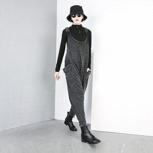 Image 3 - [EAM] 2020 nouveau printemps automne taille haute noir grande poche fendue Joint Harem jean pantalons amples femmes salopette mode JO51