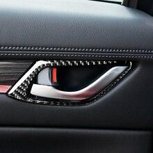 For Mazda CX 5 CX 5 2017 2018 4pcs/set Carbon Fiber Car Interior Door Pull Handle Frame Cover