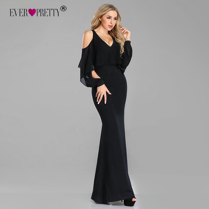 Little Black Evening Dresses 2019 Ever Pretty Chiffon Mermaid Long Party Gowns With Ruffles Sexy Wedding Guest Gowns
