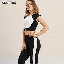 cd68b5701cb1 MAIJION Nero vestiti di Yoga Bianco Set Delle Donne di Allenamento Tuta  Morbido Senza Soluzione di