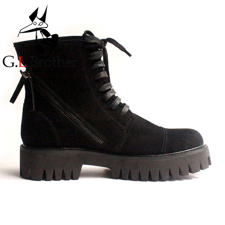 Spring Autumn Black Suede Leather Ankle Short Boots Thick Heel Round Toe Side Zipper Booties Men's Cool Army Boot