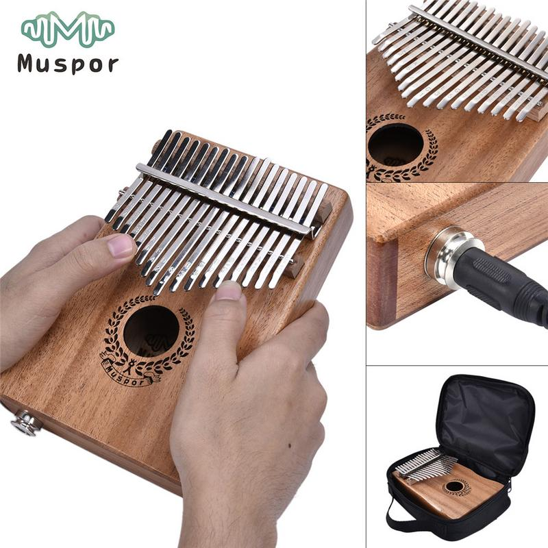IRIN 17 Keys EQ Kalimba Mahogany Thumb Piano Link Speaker Electric Pickup Bag Cable Christmas Instrument
