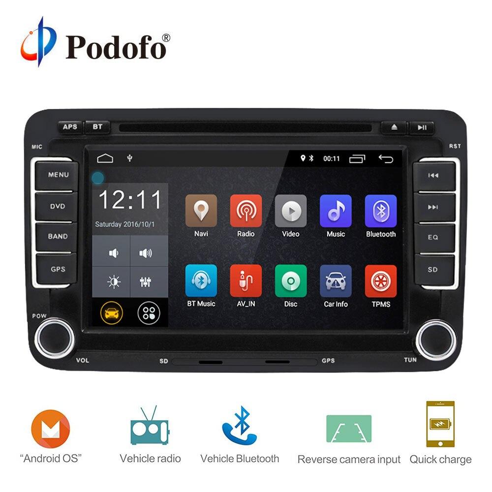 Podofo 2 Din Android 7.1 autoradio Audio lecteur DVD GPS WIFI Radio lecteur multimédia caméra de soutien pour VW/Golf/6 5/Passat