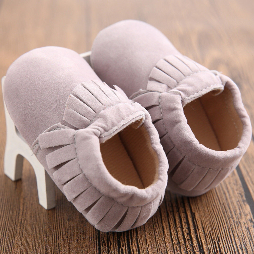 New Arrival Fringe Toddler Newborn Baby Girl Soft Sole Crib Shoes Anti-slip Pram Prewalker Sneakers Solid Cute Elastic Shoes