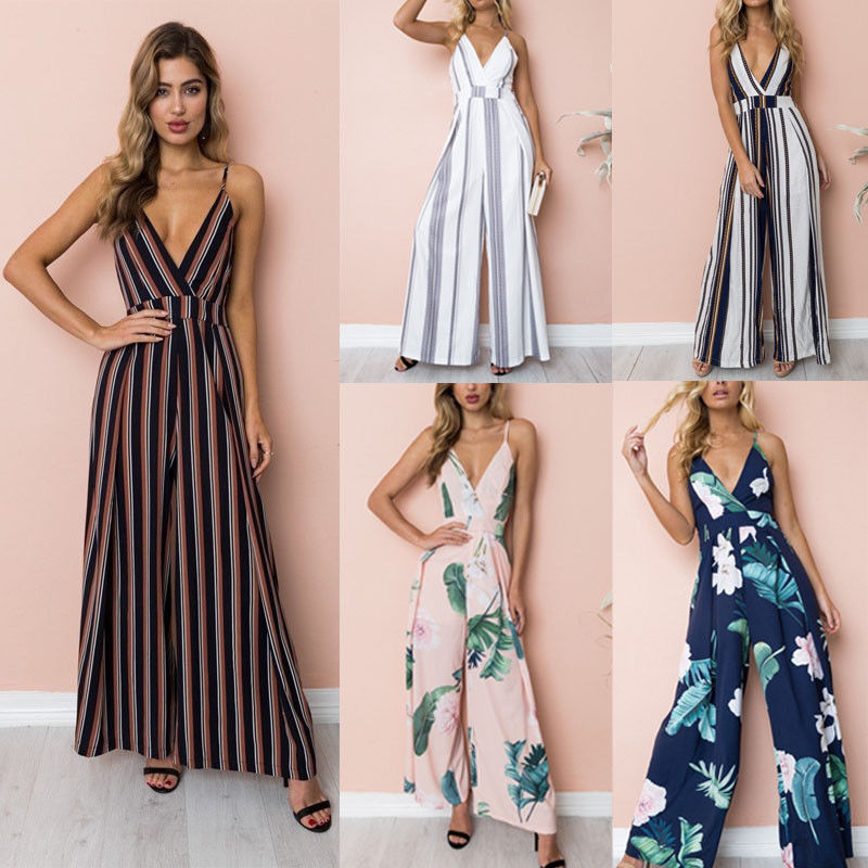 2018 Fashion Boho Women Ladies Summer   Jumpsuits   5 Style Sleeve V-Neck Striped Print   Jumpsuits   Outfit Party Clothes