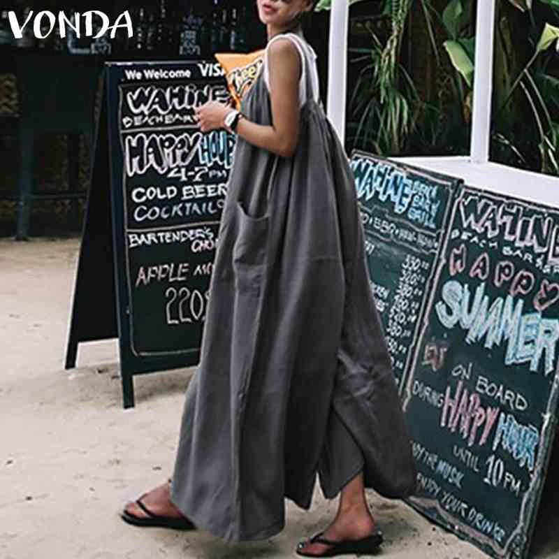 45a2dcbd82 ... VONDA Plus Size Overalls 2019 Summer Rompers Women Jumpsuits Wide Leg  Pants Casual Loose Sexy Strap