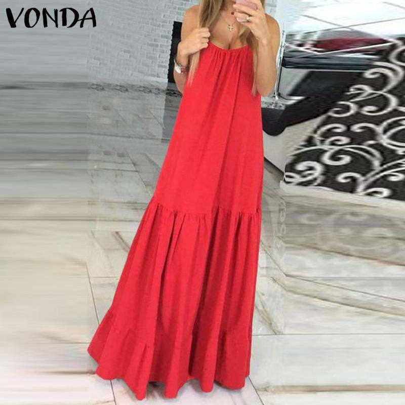 VONDA Bohemian Dress Women 2019 Summer Sexy Sleeveless Spaghetti Strap Ruffle Swings Maxi Long Dresses Holiday Vestido Plus Size