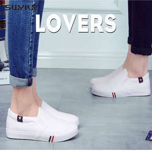 Image 1 - Весна 2018, новинка, Мужская парусиновая обувь SWYIVY, женская обувь, Белая обувь на плоской подошве для мужчин/женщин, черные кроссовки, Размеры 35 44, слипоны