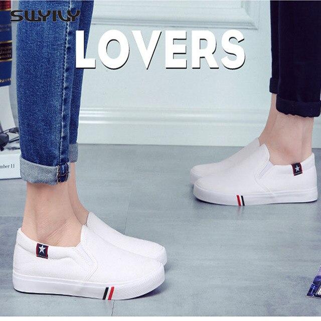 Swyivy 2018 Voorjaar Nieuwe Mannen Canvas Schoen Vulcaniseer Sneakers Platte Witte Schoenen Voor Mannen/Vrouwelijke Zwarte Sneakers 35 44 Size Slip Op