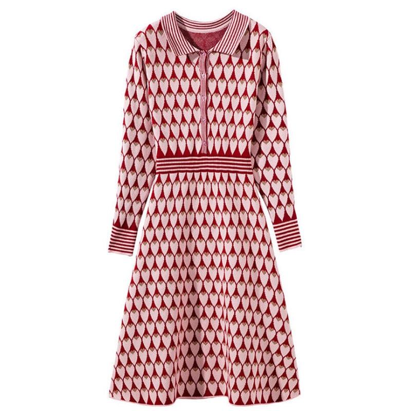 Tricotée Le Tournent Bas Automne Femme Printemps Robe As À Robes Nouveau Coeurs Jc2126 Modèles Vers Élégante Longues Femmes Manches Picture 1Rawfxq