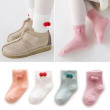 Комплект из 4 пар для новорожденных детей, мягкие хлопковые нескользящие милые зимние носки для От 2 до 11 лет