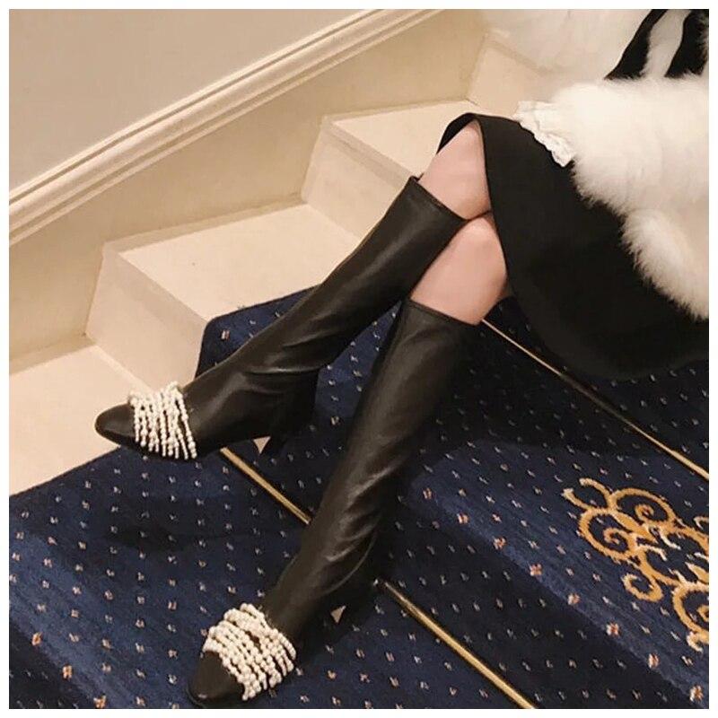 246872fe629fa9 Show Hauteur En Chaussures Rond Bout Printemps Hauts Souple Épais  Cuissardes De Grande Bottes Pour Femmes Talons Cuir Perle Noir D'automne  Blanc As pUcq1