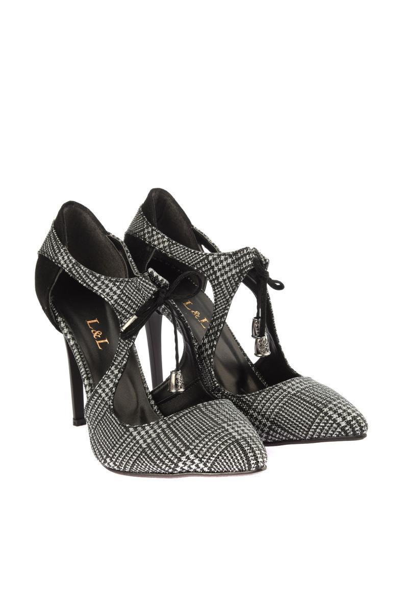 Soho Zapatos 12447 Para Tacón Mujeres Alto Cuadros Negro De A rxawr