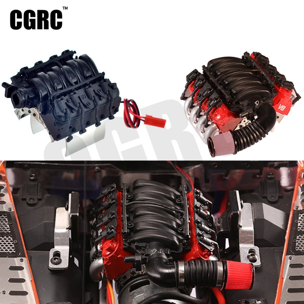 New Simulate V8 6.2 Engine Motor Cooling Fan Radiator For 1/10 RC Crawler Car TRX4 Defender AXIAL SCX10 RC4WD D90 D110
