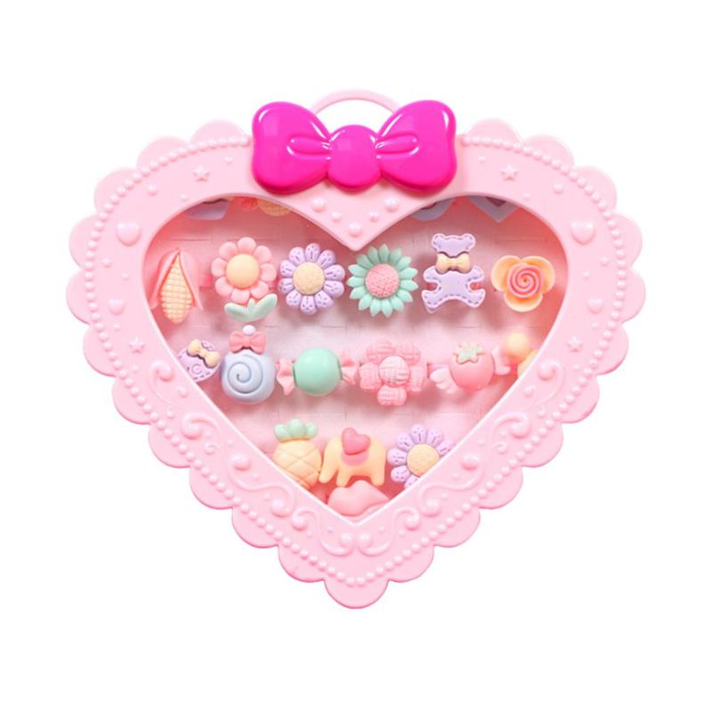 20pcs Kids Girls Gift Cartoon Resin Rings Girls Adjustable Jewelry With Love Gift Box Kids Girls Makeup Toy Set