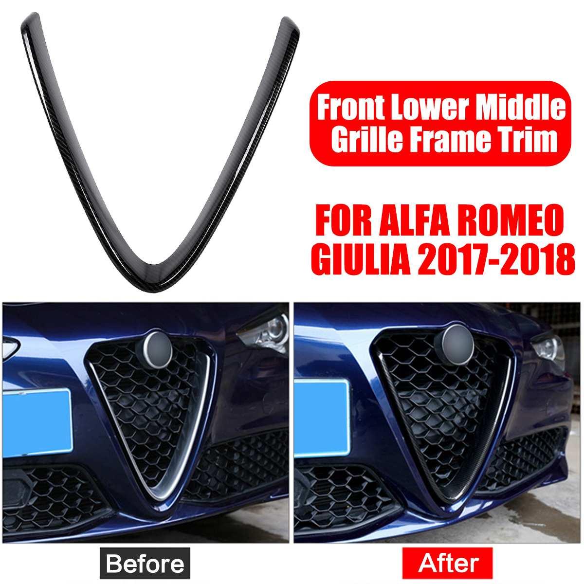 Carbon Fiber For Alfa Romeo Giulia 2017 2018 Car Head Grilles V Frame Decoration Trim Sticker Cover Styling Auto Accessories