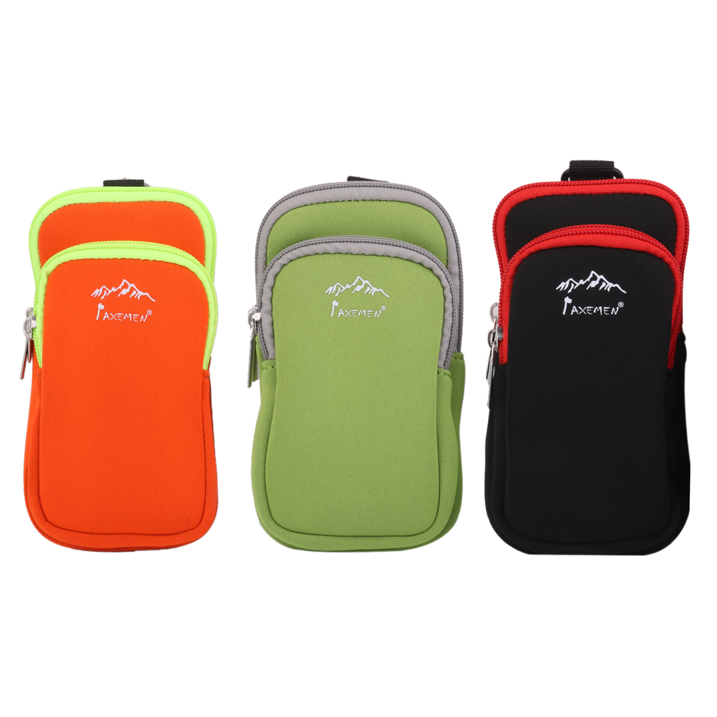S/L Neoprene Dual Zip Pocket Pouch Phone Shoulder Bag Credit Card Case for Hiking Climbing Camping Surfing Kayak Caving Accessor